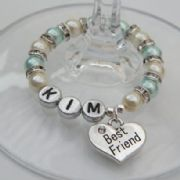 Best Friend Personalised Wine Glass Charm - Full Sparkle Style